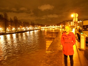 A late-night walk along the Seine on my first night in Paris.