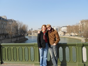 The Seine. A bridge. Aus and Mama.