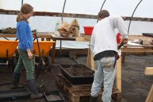 Will and I mixing potting soil.