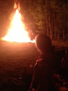 "Liz ""toasts"" the fire."