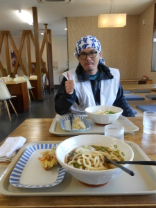 My first udon, in the prefecture (Kagawa) where they originated. I made friends with Kazu, a motorcycle henro-san, and we grabbed an udon lunch together after temple 79.