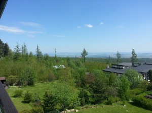 The view from our balcony onto the valley below the Tatras.